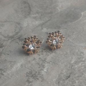 5 for $8 Rose Gold Snowflake Faux Diamond Earrings